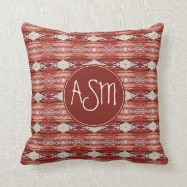 Aztec Themed Watercolor Sienna Aztec Tribal Pattern Monogram Throw Pillow