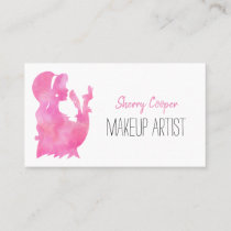 Watercolor Silhouette Pink Makeup Artist Elegant Business Card