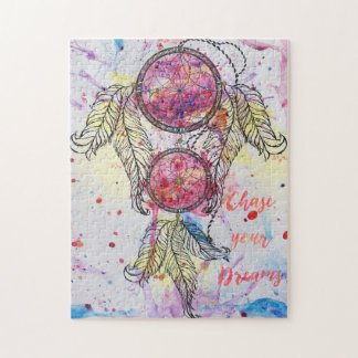 "Watercolor sketch Dreamcatcher ""Chase your Dreams"" Jigsaw Puzzle"