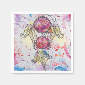 "Watercolor sketch Dreamcatcher ""Chase your Dreams"" Paper Napkin"