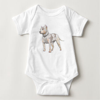 Watercolor Sketch Pit Bull Dog Baby Bodysuit
