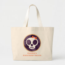 Watercolor Skull Cookie Kids Personalized  Large Tote Bag