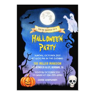 Watercolor Skull Pumpkin Spooky Halloween Party Card
