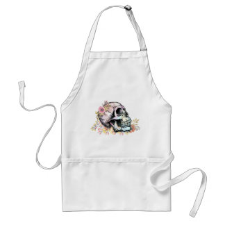 Watercolor skull with autumn flowers. adult apron