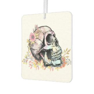 Watercolor skull with autumn flowers air freshener