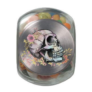 Watercolor skull with autumn flowers glass jars
