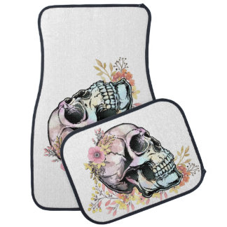 Watercolor skull with autumn flowers car mat