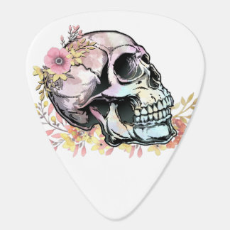 Watercolor skull with autumn flowers guitar pick