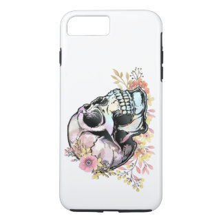 Watercolor skull with autumn flowers. iPhone 7 plus case