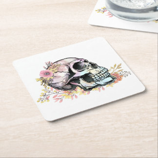 Watercolor skull with autumn flowers square paper coaster