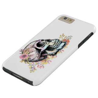 Watercolor skull with autumn flowers. tough iPhone 6 plus case