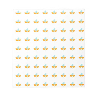 Watercolor sky blue and orange flowers notepad