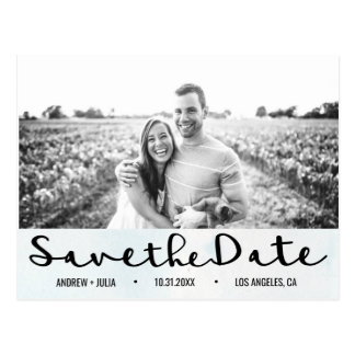 Watercolor Sky Blue Save the Date | Postcard