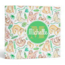 Watercolor Sloth Pattern | Add Your Initial Binder