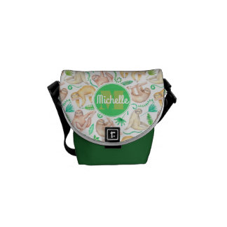 Watercolor Sloth Pattern   Add Your Initial Courier Bag