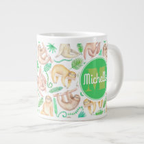 Watercolor Sloth Pattern | Add Your Initial Large Coffee Mug