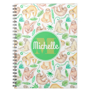 Watercolor Sloth Pattern | Add Your Initial Notebook