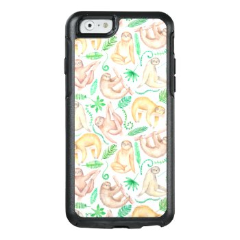 Watercolor Sloth Pattern Otterbox Iphone 6/6s Case by tropicaldelight at Zazzle