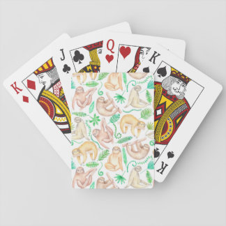 Watercolor Sloth Pattern Playing Cards