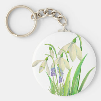 Watercolor Snowdrops and Muscari Basic Round Button Keychain