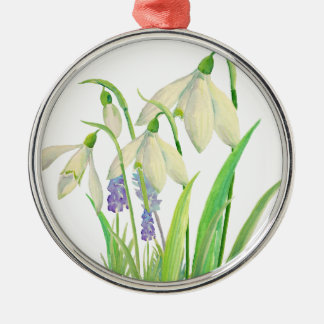 Watercolor Snowdrops and Muscari Metal Ornament