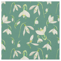 Watercolor Snowdrops Pattern Fabric