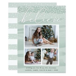 Watercolor Snowfall   Holiday Photo Collage Card
