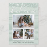 "Watercolor Snowfall | Holiday Photo Collage Card<br><div class=""desc"">Share holiday greetings with these chic Christmas photo cards featuring three of your favorite photos (1 landscape, 2 square) arranged in a rectangular collage layout on a pale green watercolor wash background accented with falling snow. &quot;Believe&quot; appears at the top in elegant hand lettered script typography. Personalize with your custom...</div>"