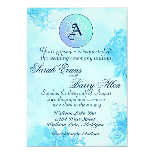 Watercolor Snowflake Monogram Wedding Invitation