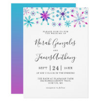 Watercolor Snowflake Winter Wonderland Wedding Invitation