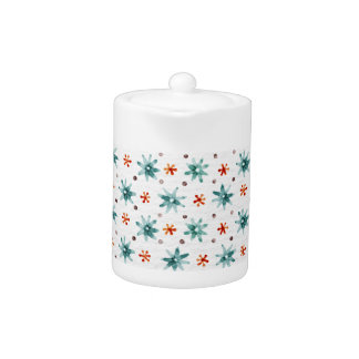 Watercolor snowflakes on a white background teapot
