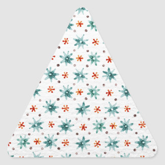 Watercolor snowflakes on a white background triangle sticker