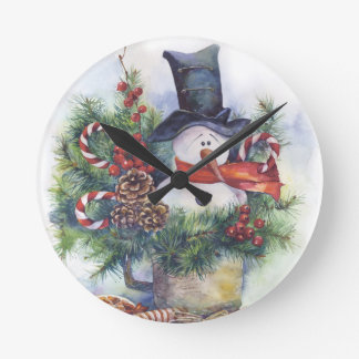 Watercolor snowman Christmas tree New Year winter Round Clock