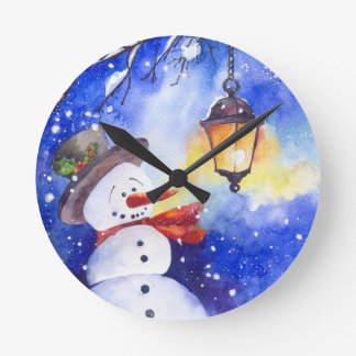 Watercolor snowman Merry Christmas New Year night Round Clock