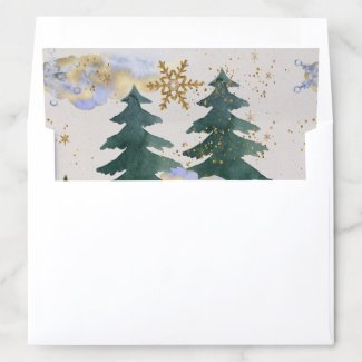 Watercolor Snowstorm in Forest Envelope Liner 5x7