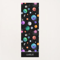 Watercolor Solar System Outer Space Kids Yoga Mat