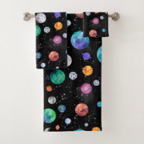 Watercolor Solar System Outer Space Planets Galaxy Bath Towel Set