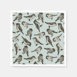 Watercolor Song Bird Pattern Aqua & Sage Paper Napkin