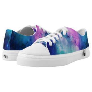Watercolor Space Pink Blue Universe Star Nebula Printed Shoes