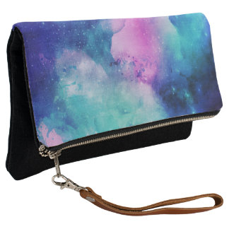 Watercolor Space Universe Star Nebula Pink Blue Clutch