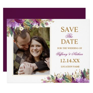 Wedding Themed Watercolor Sparkling Amethyst Save the Date Photo Card