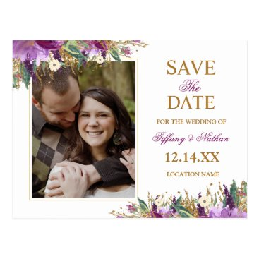 Wedding Themed Watercolor Sparkling Amethyst Save the Date Photo Postcard