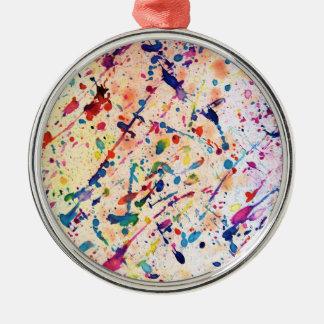 Watercolor Spatter Metal Ornament