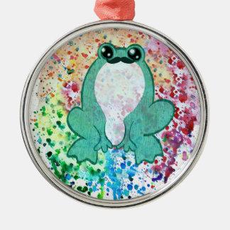 Watercolor Spatter Mustache Frog Metal Ornament