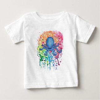 Watercolor Spatter Mustache Octopus Baby T-Shirt