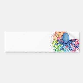 Watercolor Spatter Mustache Octopus Bumper Sticker