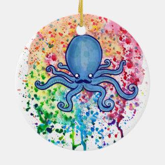 Watercolor Spatter Mustache Octopus Ceramic Ornament