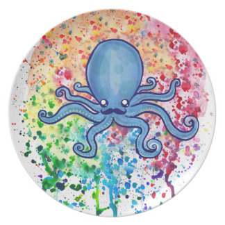 Watercolor Spatter Mustache Octopus Dinner Plate