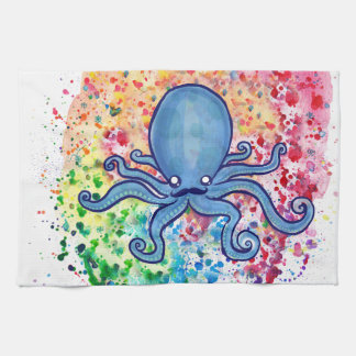 Watercolor Spatter Mustache Octopus Kitchen Towel