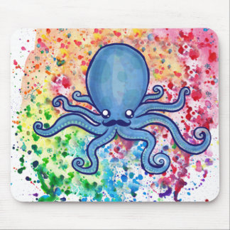 Watercolor Spatter Mustache Octopus Mouse Pad
